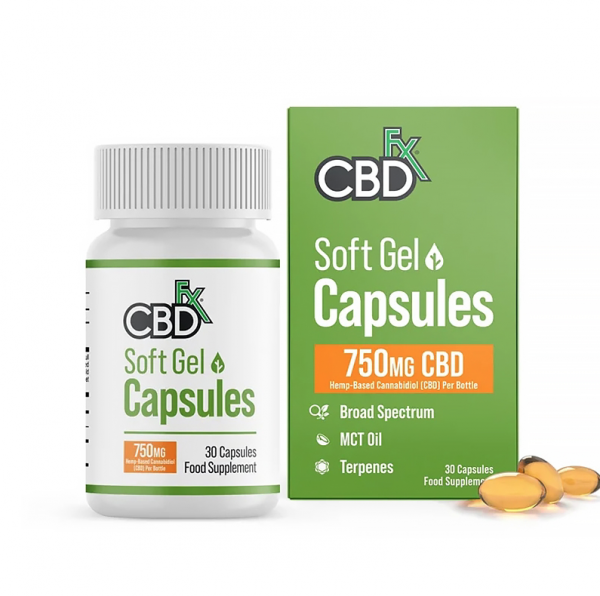 cbdfx soft gel CBD capsules 750mg
