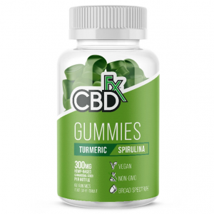 cbdfx gummies jar of 60 turmeric and spirulina