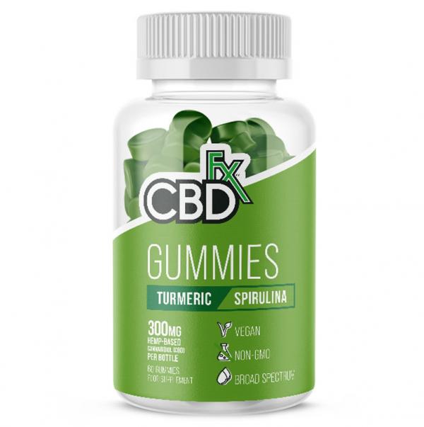 cbdfx gummies jar of 60 turmeric and spirulina